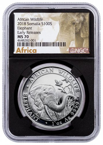 2018 Somalia 1 oz Silver Elephant Sh100 Coin NGC MS70 ER Black Core Holder Exclusive African Elephant Label