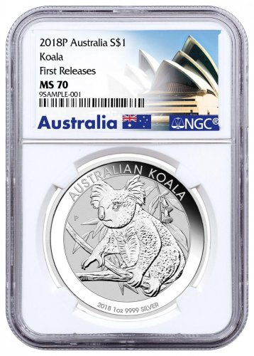 2018 P Australia 1 Oz Silver Koala 1 Coin Ngc Ms70 First
