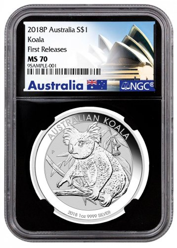 2018 Australia 1 oz Silver Koala $1 Coin NGC MS70 FR Black Core Holder Exclusive Australia Label