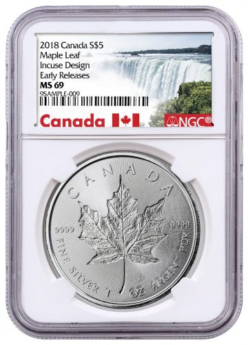 2018 Canada 1 oz Silver Maple Leaf - Incuse $5 Coin NGC MS69 ER Exclusive Canada Label