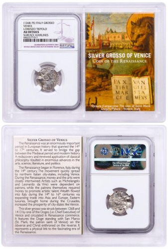 1268-1413 Italy Silver Grosso Venice-Renaissance NGC AU Story Vault