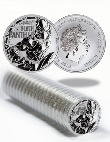 Roll of 20 - 2018 Tuvalu Black Panther 1 oz Silver Marvel Series $1 Coins GEM BU