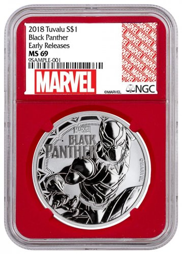 2018 Tuvalu Black Panther 1 oz Silver Marvel Series $1 Coin NGC MS69 ER Red Core Holder Exclusive Marvel Label