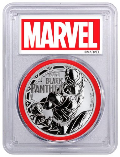 2018 Tuvalu Black Panther 1 oz Silver Marvel Series $1 Coin PCGS MS70 FS Red Gasket Exclusive Marvel Label