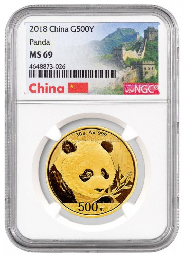 2018 China 30 g Gold Panda ¥500 Coin NGC MS69 Exclusive Great Wall Label