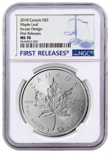 2018 Canada 1 oz Silver Maple Leaf - Incuse $5 Coin NGC MS70 FR