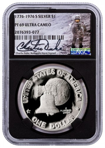 1976-S Silver Eisenhower Dollar NGC PF69 UC Black Core Holder Charlie Duke Signed label