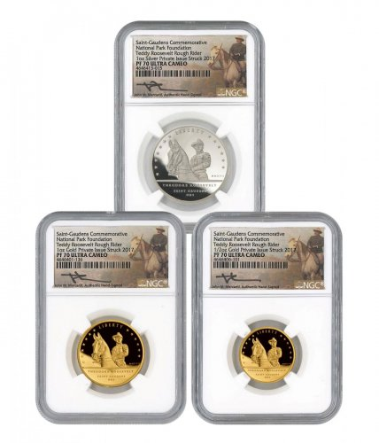 2017 Teddy Roosevelt Rough Rider National Park 3-Coin Set Proof Medal Scarce and Unique Coin Division NGC PF70 Mercanti Signed Label