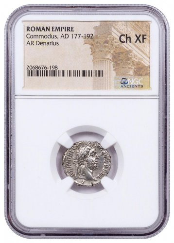 177-192 Roman Empire, Silver Denarius of Commodus NGC Ch. XF