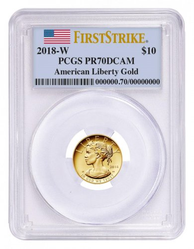 2018-W 1/10 oz Gold American Liberty Proof $10 PCGS PR70 DCAM FS Flag Label