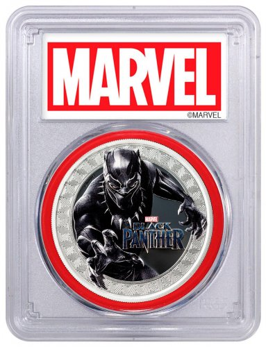 2018 Tuvalu Marvel Series - Black Panther 1 oz Silver Colorized Proof $1 Coin PCGS PR70 DCAM FS Red Gasket Exclusive Marvel Label