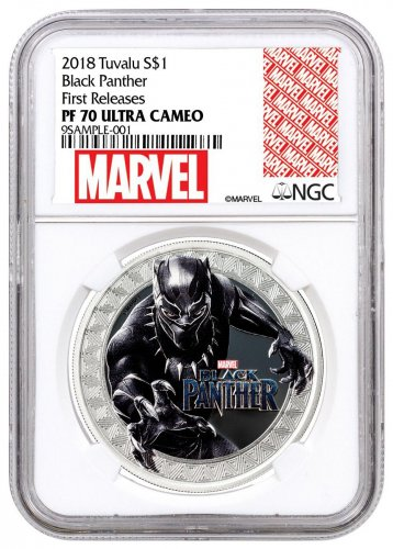 2018 Tuvalu Marvel Series - Black Panther 1 oz Silver Colorized Proof $1 Coin NGC PF70 UC FR Exclusive Marvel Label
