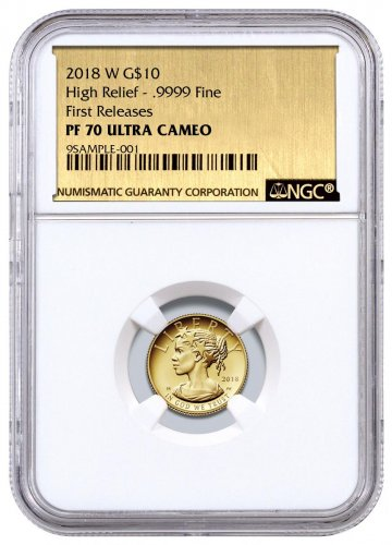 2018-W 1/10 oz Gold American Liberty Proof $10 NGC PF70 UC FR Exclusive Gold Foil Label