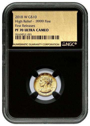 2018-W 1/10 oz Gold American Liberty Proof $10 NGC PF70 UC FR Black Core Holder Exclusive Gold Foil Label