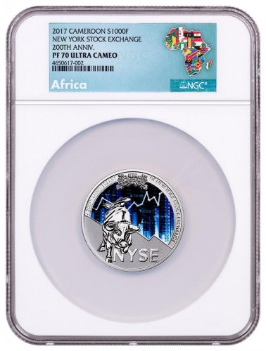 2017 Republic of Cameroon 200th Anniversary of New York Stock Exchange 1 oz. Silver Proof Coin NGC PF70 UC Exclusive Africa Label