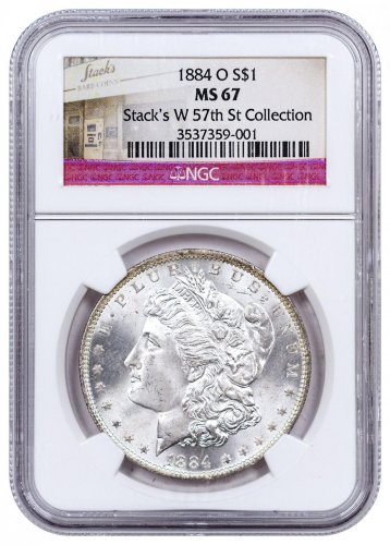 1884-O Morgan Silver Dollar NGC MS67 Stacks W 57th St. Collection Label