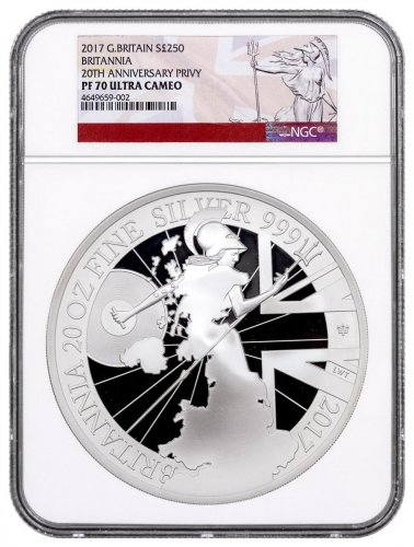 2017 Great Britain 20 oz. Silver Britannia with 20th Anniversary Privy 250P Coin NGC PF70 UC Exclusive Britannia Label