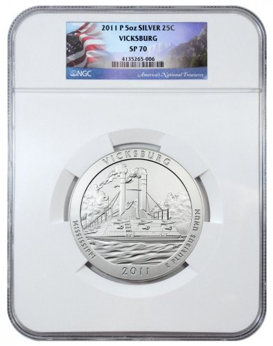 2011-P Vicksburg 5 oz. Silver America the Beautiful Specimen Coin NGC SP70 (Flag Label)