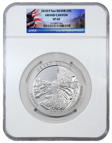 2010-P Grand Canyon 5 oz. Silver America the Beautiful Specimen Coin NGC SP69 (Flag Label)