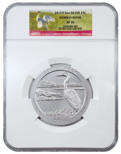 2015-P Bombay Hook 5 oz. Silver America the Beautiful Specimen Coin NGC SP70