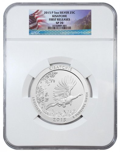 2015-P Kisatchie 5 oz. Silver America the Beautiful Specimen Coin NGC SP70 FR Flag Label