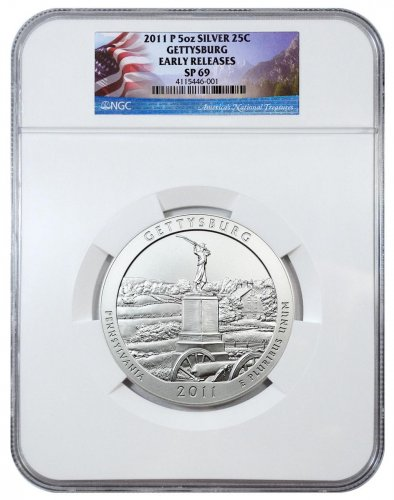 2011-P Gettysburg 5 oz. Silver America the Beautiful Specimen Coin NGC SP69 ER Flag Label