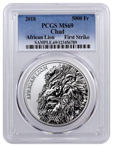 2018 Republic of Chad African Lion 1 oz Silver Fr5,000 Coin PCGS MS69 FS