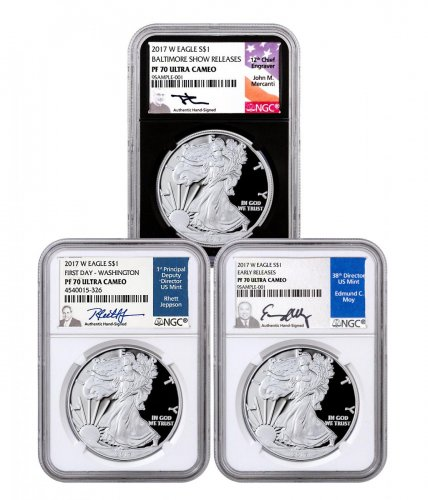 3-Coin Set - 2017-W Proof American Silver Eagle Scarce and Unique Coin Division NGC PF70 UC White + Black Core Mercanti, Jeppson & Moy Signed Labels