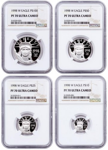 1998-W Platinum American Eagle Proof 4-Coin Set NGC PF70 UC
