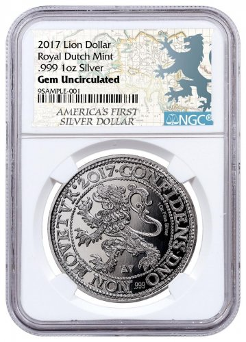 2017 Netherlands Restrike Silver 1 New York Lion Dollar NGC GEM Unc Lion Dollar Label