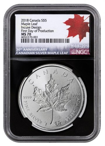 2018 Canada 1 oz Silver Maple Leaf - Incuse $5 Coin Scarce and Unique Coin Division NGC MS70 First Day of Production Black Core Holder
