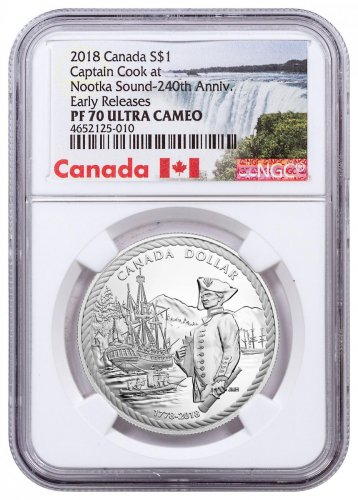 2018 Canada 240th Anniversary of Captain Cook at Nootka Sound 3/4 oz Silver Proof $1 Coin NGC PF70 UC ER