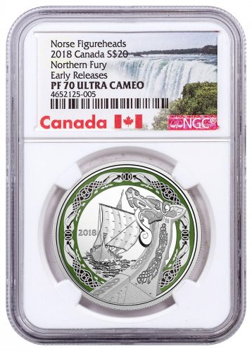 2018 Canada Norse Figureheads - Northern Fury 1 oz Silver Colorized Proof $20 Coin NGC PF70 UC ER Exclusive Canada Label