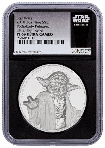 2018 Niue Star Wars - Yoda Ultra High Relief 2 oz Silver Colorized Proof $5 Coin NGC PF69 UC ER Black Core Holder Star Wars Label