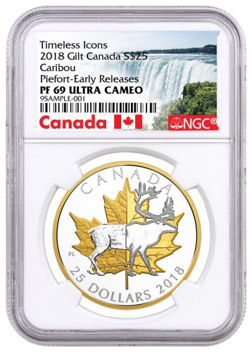 2018 Canada Timeless Icons - Caribou Piedfort 1 oz Silver Gilt Proof $25 Coin NGC PF69 UC ER Exclusive Canada Label