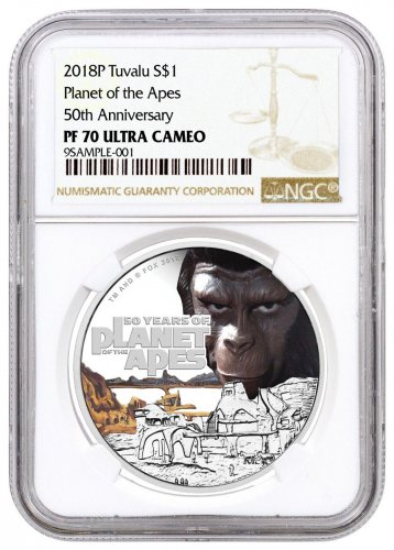 2018 Tuvalu Planet of the Apes 1 oz Silver Colorized Proof $1 Coin NGC PF70 UC