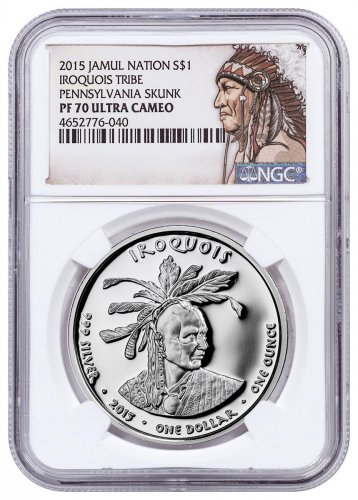 2015 Native American Silver Dollar - Pennsylvania Iriquois - Skunk 1 oz Silver Proof Coin NGC PF70 UC Native American Label