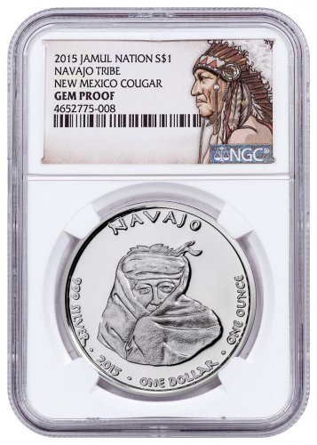 2015 Native American Silver Dollar - New Mexican Navajo - Cougar 1 oz Silver Proof Coin NGC GEM Proof Native American Label