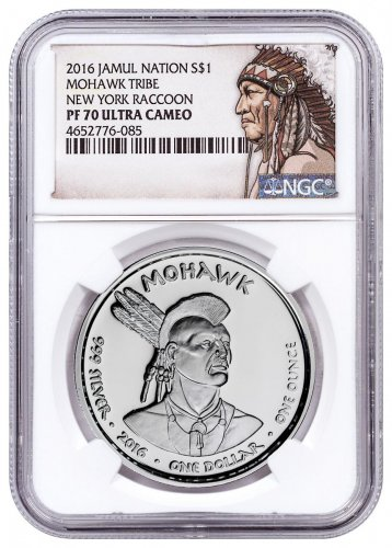 2016 Native American Silver Dollar - New York Mohawk - Raccoon 1 oz Silver Proof Coin NGC PF70 UC Native American Label