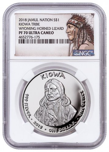 2018 Native American Silver Dollar - Wyoming Kiowa - Horned Lizard 1 oz Silver Proof Coin NGC PF70 UC Native American Label