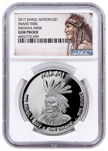 2017 Native American Silver Dollar - Indiana Miami - Mink 1 oz Silver Proof Coin NGC GEM Proof Native American Label