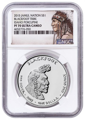 2015 Native American Silver Dollar - Idaho Blackfoot - Porcupine 1 oz Silver Proof Coin NGC PF70 UC Native American Label
