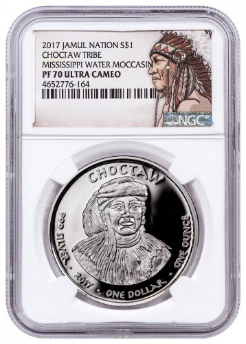 2017 Native American Silver Dollar - Mississippi Choctaw - Water Moccasin 1 oz Silver Proof Coin NGC PF70 UC Native American Label