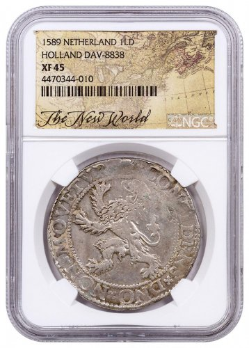 1589 Netherlands Silver 1 New York Lion Dollar NGC XF45 Exclusive New World Label