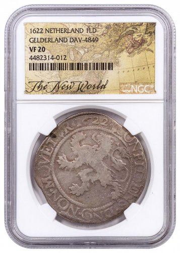 1622 Netherlands Silver 1 New York Lion Dollar NGC VF20 Exclusive New World Label
