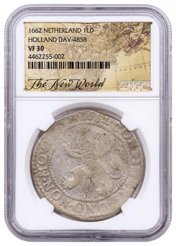 1662 Netherlands Silver 1 New York Lion Dollar NGC VF30 Exclusive New World Label