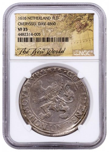 1616 Netherlands Silver 1 New York Lion Dollar NGC VF35 Exclusive New World Label