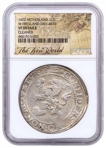 1622 Netherlands Silver 1 New York Lion Dollar NGC VF Exclusive New World Label