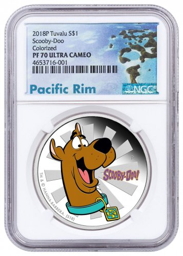 2018 Tuvalu Scooby-Doo 1 oz Silver Colorized Proof $1 Coin NGC PF70 UC Exclusive Pacific Rim Label