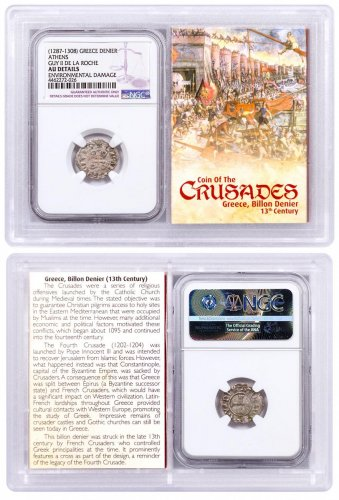 1250-1310 Greece, Billon Denier - Coin of the Crusades NGC AU Story Vault